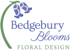 The Bedgebury Blooms logo is made up of words and a simplified graphic of a bluebell with the initials BB in the flowerhead